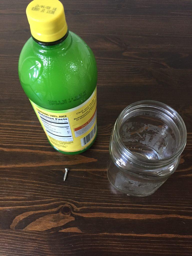 experiment prep - stainless steel vs lemon juice